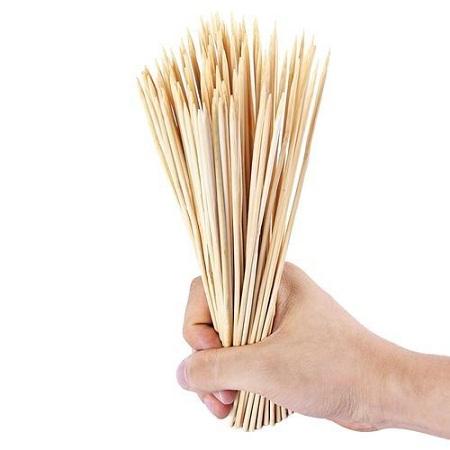 100pcs Disposable Bamboo Skewer For Barbecue Shish Kebab - Light Khaki