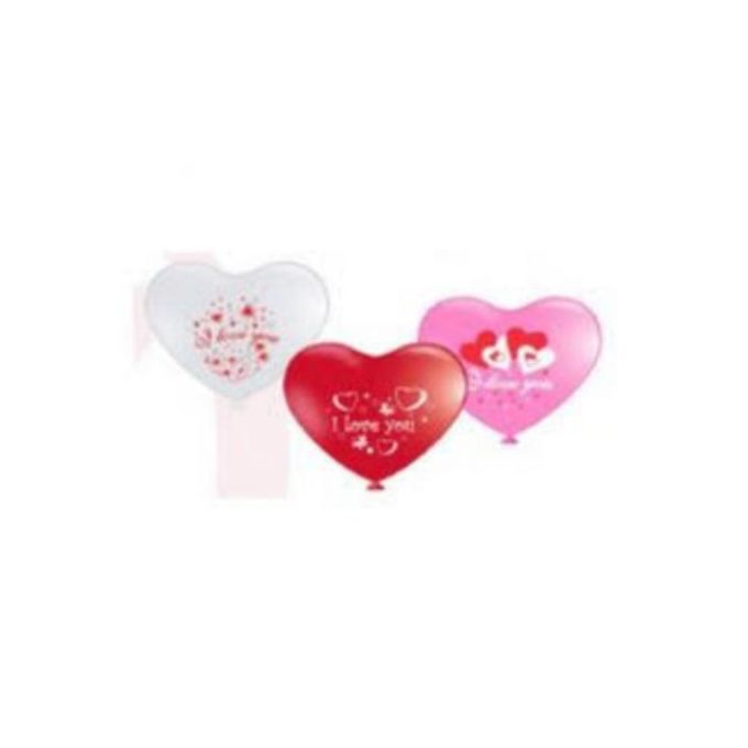 12inch Heart Balloon Standard Pink, Red, & White Colours With Silkscreen Printing inchI Love You 50Pcs/Pkt