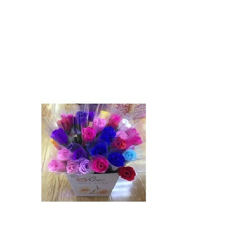 Artificial Rose Single Packed In Transparent Roses Printed Bag