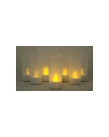 LED Candles Set Of 8 With Adaptor, Yellow With Long Frosted Tube For Each Light