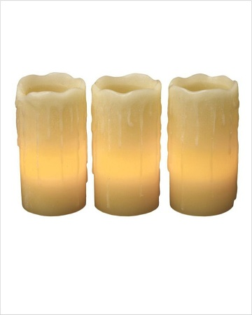 Wax Look LED Candle Set Of 3