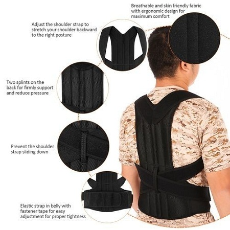 Lixada Back Posture Corrector Brace Clavicle Shoulder Corrector Strap Adjustable Splint Shoulder Upper Lower Back Relief Support Brace Strap