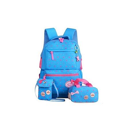 School Bags Star Printing travel Backpack kids Orthopedic Backpack 3pcs/Set Rucksack-Blue