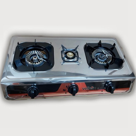 VELTON 3 Burner Heavy Duty Stainless Steel Gas Stove/cooker