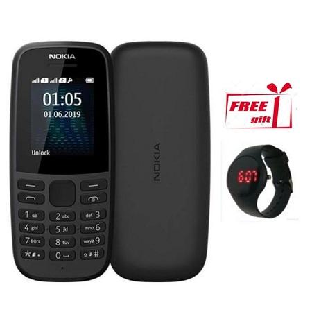 Nokia 105, Dual Sim, 4MB Rom _ Free Gift, Watch _ Black