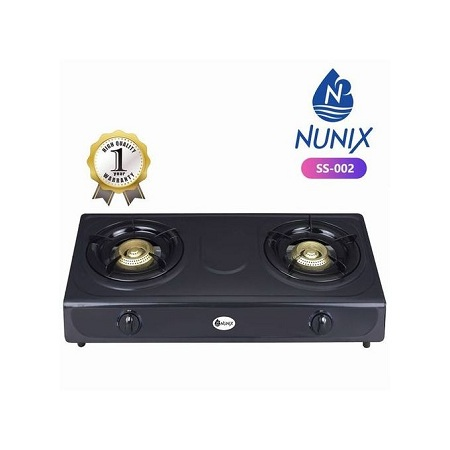Nunix Stainless Steel Table Double Burner Gas Cooker