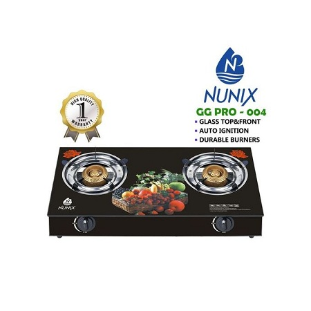 Nunix Tampered Glass Table Top Double Burner Gas Stove