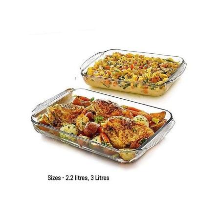 Signature Microwave Safe Glass Casserole Bowl -Set Of 2