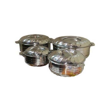 Generic Stainless Steel Hot Pot Set 4 Pieces - Silver.