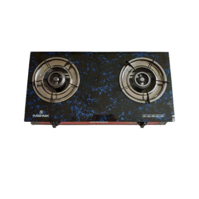 Rashnik 2 Burner Table Top Gas Cooker- Glass Stainless Auto Ignition