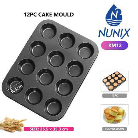 Non-Stick, 12 Hole Cupcake Muffin Queen Cakes Baking Tray