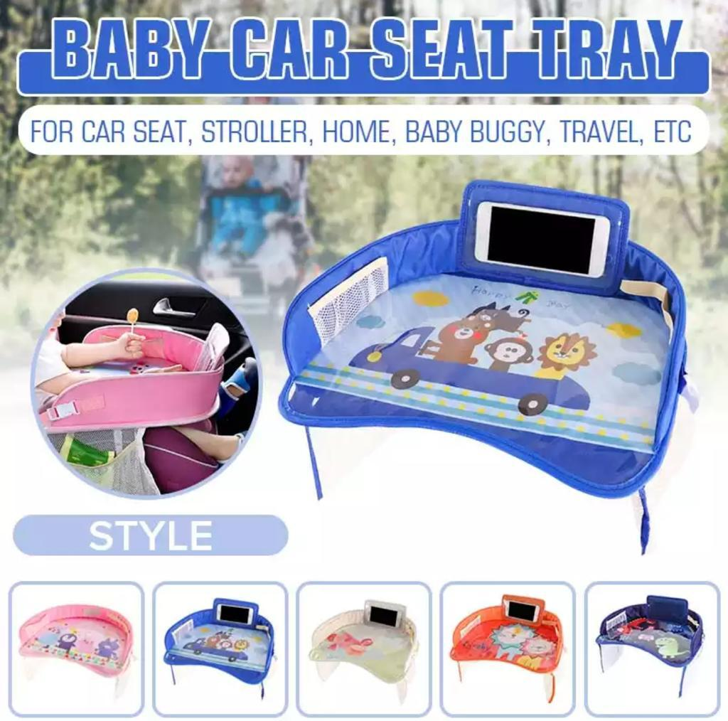 Kids Baby Car Seat Tray- Travel Play Tray Table Buggy Pushchair Snack TV Lap-tray - Blue