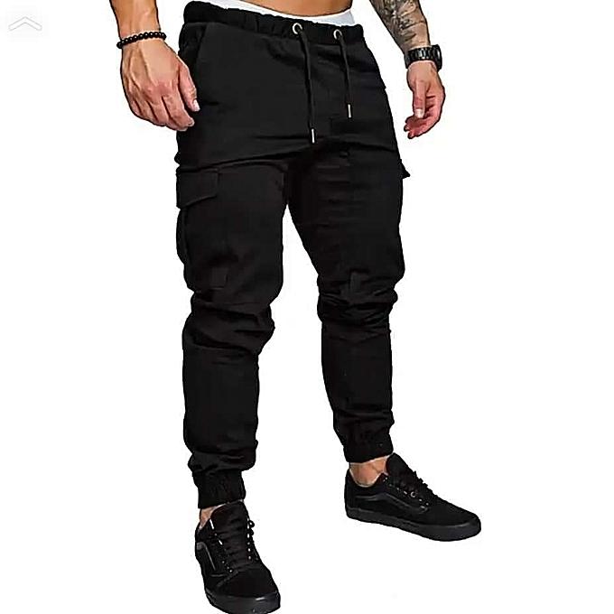 Generic Black Men's Cargo Pant-Stylish Pocketed