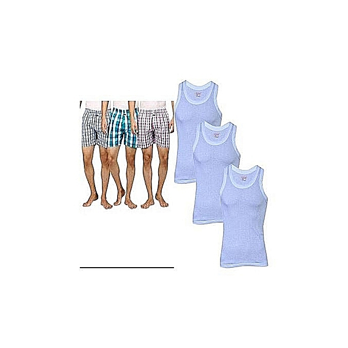 Fashion Boxers (Colours May Vary) + Vest (White) - 6 Pieces