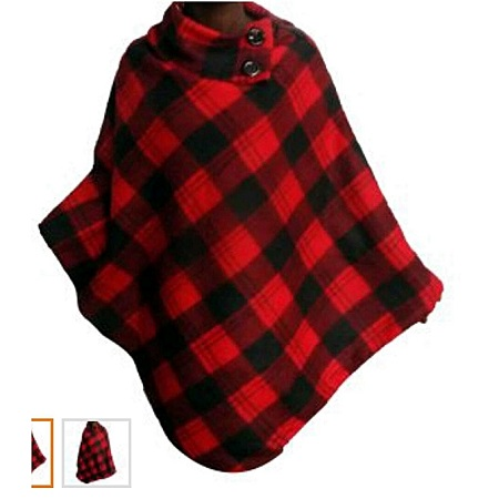 Red And Black Checked All Weather Ladies Fleece Poncho