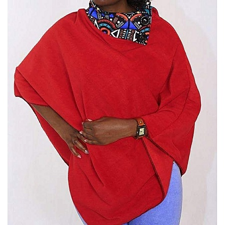 Red All Weather Ladies Fleece Poncho