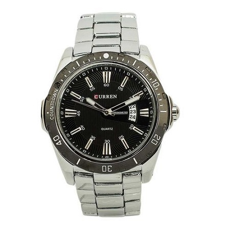 Curren Black Dial Chronograph Watch With Silver Straps