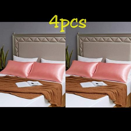 4pcs Satin Pillowcase Bed pillow -Peach