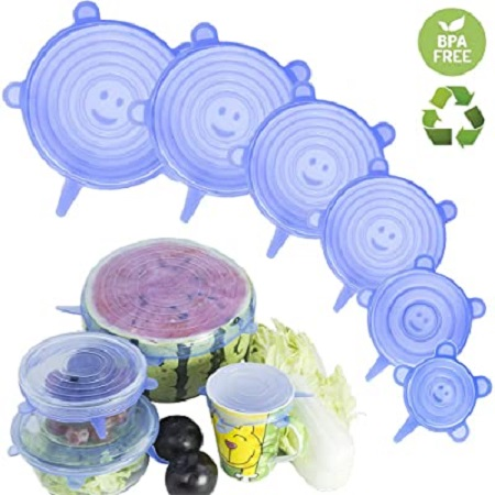 6pcs Silicone stretch lids food container covers