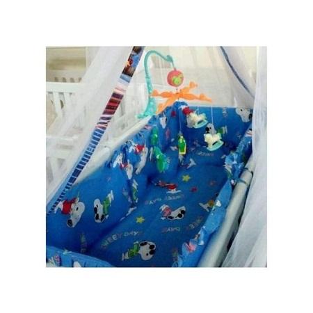 3pcs Baby Cot Bumper Set-blue