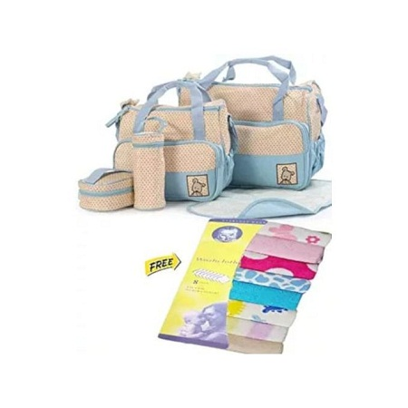 5 in 1 set light blue Baby Diaper Bag + comes With Free Wash Lothes