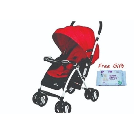 Foldable Baby Stroller - Red plus free gift( Aryuv baby wipes)
