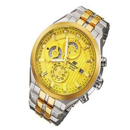Casio Golden Dial Watch With Stainless Steel Straps