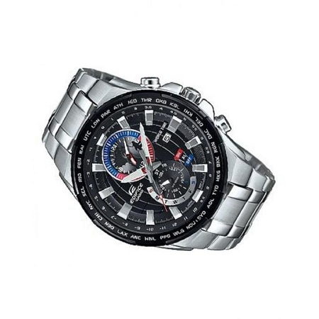 Casio Black Dial Tachymeter Watch With Silver Stainless Steel Strap