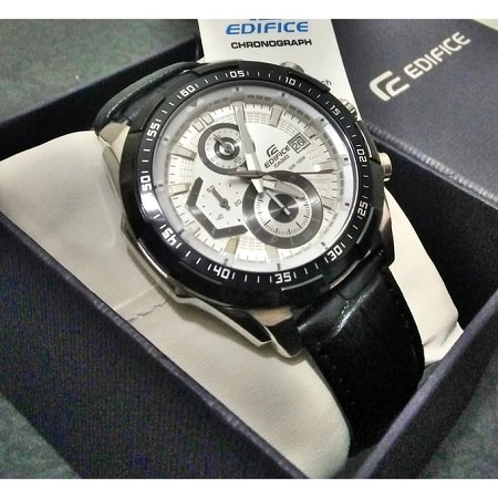 Casio Black Leather Strap Watch With White Dial EFR 539L 7AV