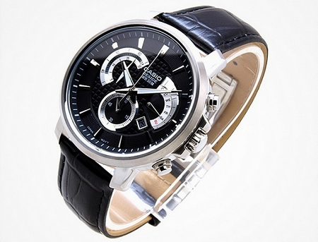 Casio Black Leather Straps Watch With Black Dial