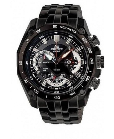 Casio Black Men's Watch With Stainless Steel Straps