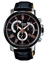 Casio Black-Rose Gold Dial Chronograph Watch, Silver & Black Strap