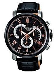Casio Black-Rose Gold Dial Chronograph Watch, Silver & Black Strap