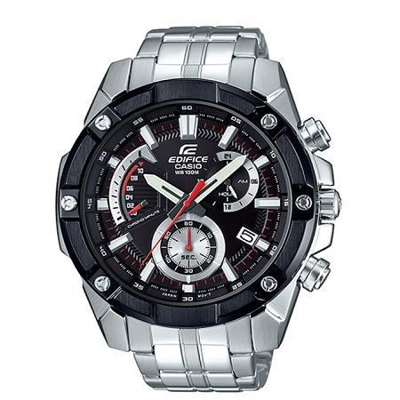 Casio Black & white Dial Chronograph Silver Stainless Steel watch