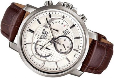 Casio Brown Leather Straps Watch With White Dial
