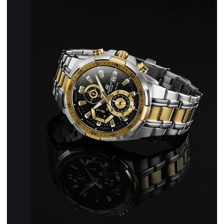 Casio Gold, Black and white Dial Chronograph Stainless Steel watch