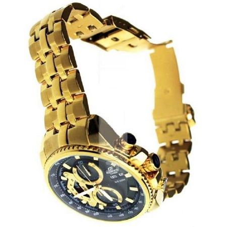 Casio Gold Tachymeter Stainless Steel Strap Watch