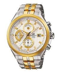 Casio Ivory & Gold Dial Watch With Stainless Steel Straps