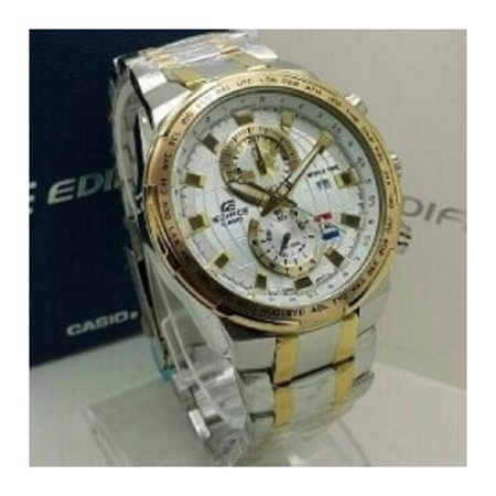 Casio Ivory & Gold Watch With Stainless Alloy Steel Straps
