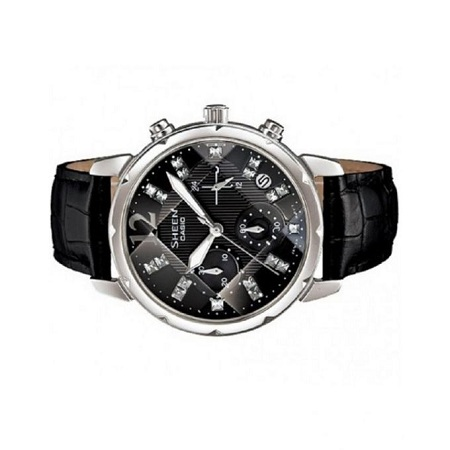Casio Sheen Black Leather Strap With Black Dial Watch