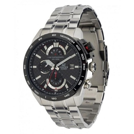 Casio Silver - Black Chronograph Watch With Stainless Steel Straps