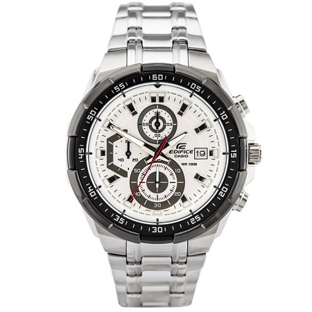 Casio Silver, white, Red Dial Chronograph Stainless Steel watch