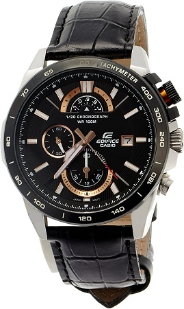Casio White And Copper Hands With Black Leather Straps Watch