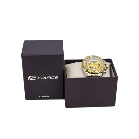 Casio White And Gold Dial Watch With Gold Straps