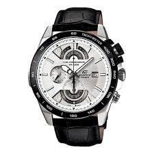 Casio White Dial EFR 520L 7AV Black Leather Strap Watch
