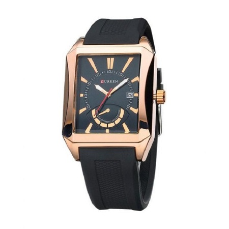 Curren Black Resin Band Luxury Wrist Watch