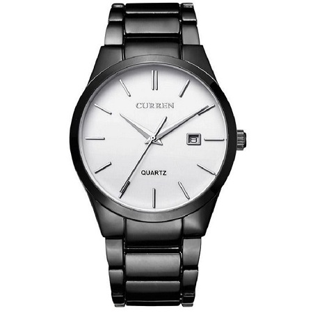 Curren Black Stainless Steel Luxury Wrist Watch With White Dial