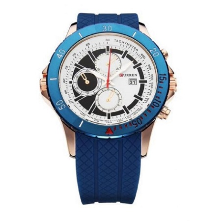 Curren Blue Resin Band Sport Wrist Watch