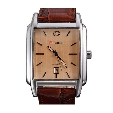 Curren Brown Leather Strap Luxury Wrist Watch