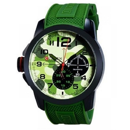 Curren Green Resin Band Military Wrist Watch